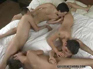 Porn Tube of Hunter, Tyler, Turk & Winter - Fourgy Of Hard-dicked Boys!