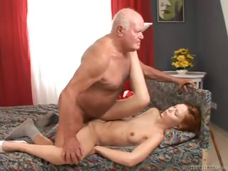 Porno Video of Sexy Young Girl Gives Horny Old Grandpa A Hot Fuck Session.
