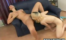 This nice lesbians rubs her hairy snatch and fucks a blonde.
