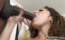Sexy Curly Brunette Enjoys Sucking On A Hard Big Black Dick