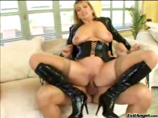 Porn Tube of Sexy Blonde Fucks A Hard Cock With Her Tits And In Her Ass!