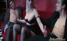 Cute Blondie Having Pleasure Sucking 2 Hot And Huge Cocks