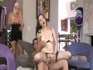 Porn Tube of Dude Fucks Mistress On Couch In Front Of His Plump Wife !