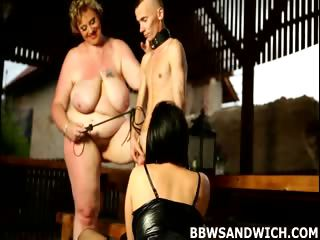 Porn Tube of Femdom Threesome With A Skinny Sub