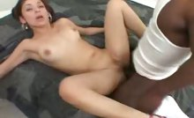 Tiny Teen Has Trouble Inserting A Huge Black Cock In Pussy
