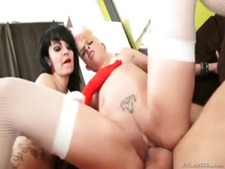 Porno Video of Punky Blonde And Goth Brunette Put A Big Cock In Their Holes