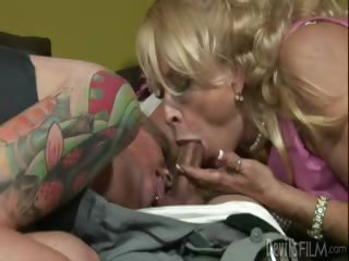 Porn Tube of Tattooed Daughter Learns The Art Of Sucking Cock From Mother