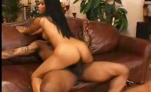 Big black guy shows this asian babe how good is a big dick