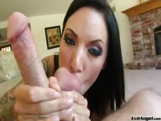 Porn Tube of Super Hot Dark Haired Chick Loves Licking & Sucking Balls !