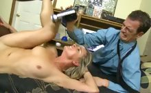 Horny blonde fucks a black dick while her husband films them