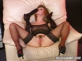 Porno Video of Lovely Brunette Playing With Dildo & Sucking Dick Meanwhile