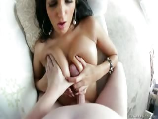 Porno Video of Cute Amber Cox Sucks Big Cock Then Strokes It With Her Tits.