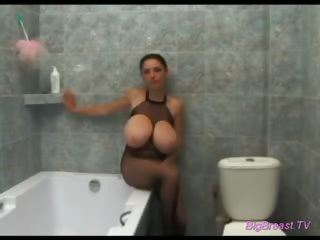 Porn Tube of Immense Jugs At Shower