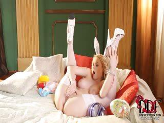Porn Tube of Blonde Bunny Using Vibro