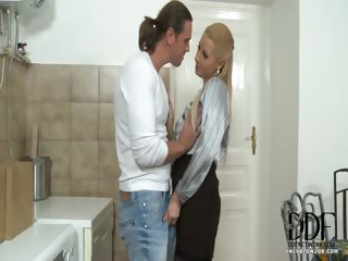 Sex Movie of Blonde Sucks Repairman's Cock