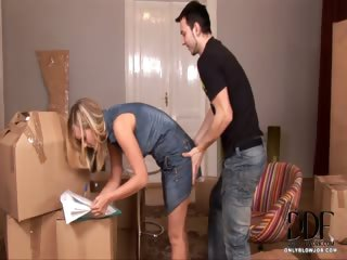 Porn Tube of Blonde Sucks On His Package