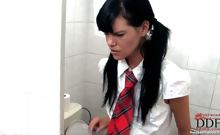 Schoolgirl gets spanked hard