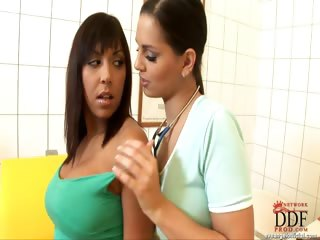 Porno Video of Eve Examines Shanis' Pussy