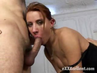 Porn Tube of Red Haired Bitch In Stockings Getting Double Fucked