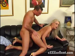 Porno Video of Busty Blonde Goddess Gets Screwed Doggy Style On The Couch