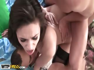 Porno Video of Hot Brunette Has Hardcore Group Sex With Dp
