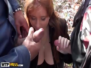 Porn Tube of Blowing 2 Cocks In The Forest