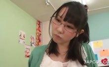 Horny asian teacher seducing a school boy in classroom