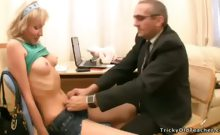 Old teacher and young beautiful coed have fun