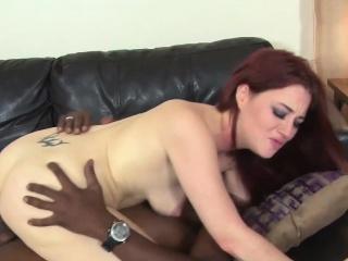 slutty redhead jessica ryan takes on some big black cock