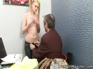 Porn Tube of Hot Blonde Schoolgirl Gets Tricked By Her Teacher