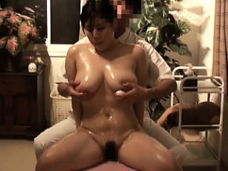 voluptuous asian lady gets her big tits massaged and her cu