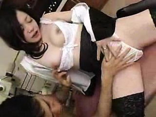buxom japanese chick in stockings sensually sucks and strok