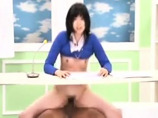 sexy slender japanese lady with tiny boobs sits on top of a