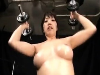 busty japanese girl with a fabulous ass loves to workout fu