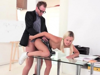 cute schoolgirl is tempted and fucked by her older mentor