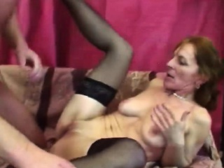 redhead slim granny strips for younger handsome cock