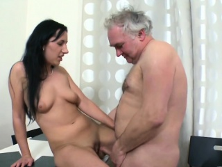 horny old dude stuffs mouth of a young honey with his rod