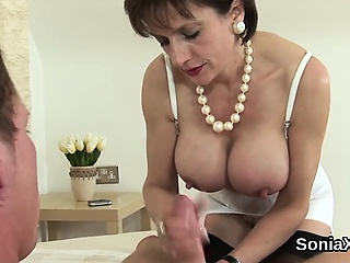cheating english milf lady sonia flashes her huge melons