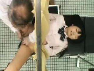 lovely oriental girl has a doctor fingering her tight slit