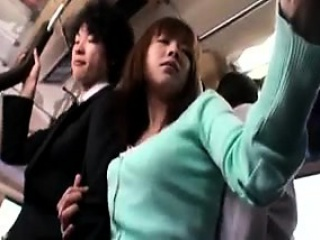 stunning japanese babe has a guy caressing her body in a pu
