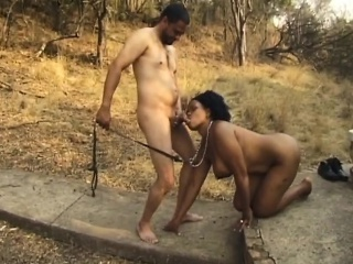 busty african sex slave gets fingered and fucked outdoors