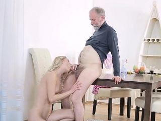 adorable young honey rides old boner of a crazy stud