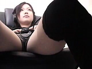 hot japanese girl loses her panties and fucks her pussy wit