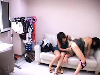 asian lesbians get down and dirty using a vibrator on their