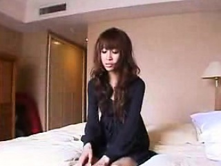 slim oriental girl with sexy long legs enjoys a stiff dick