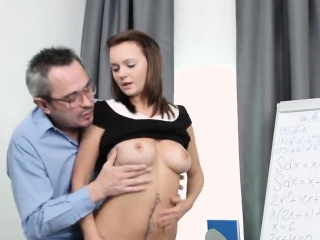 lovely bookworm gets tempted and fucked by her elderly tutor