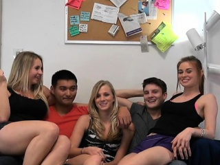 captivating hotties have to share their twats during orgy