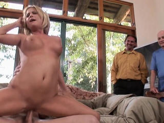 blonde milf sucks a hard dick while her hubby watching then
