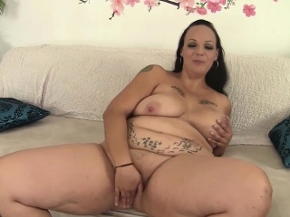 sexy luscious milf shows every inch of her naked body before