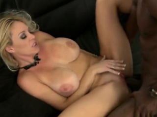 sexy blonde milf takes a huge black dick in a steamy action